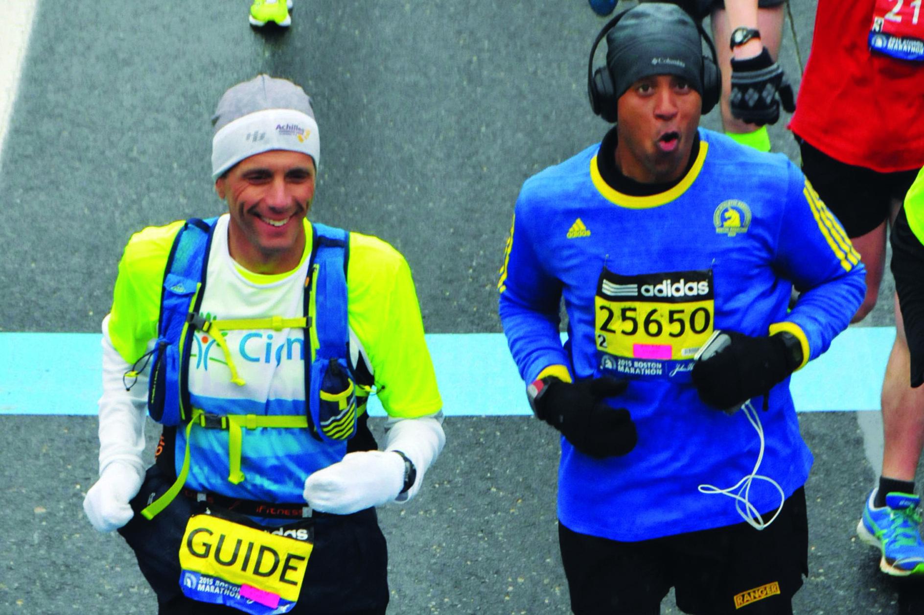 Cedric King, at right, and David Cordani at the 2015 Boston Marathon. (Courtesy Cedric King)