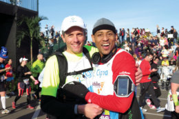 Cedric King, at right, and David Cordani at the Walt Disney World® Marathon Weekend Presented by Cigna (Courtesy of Disney)