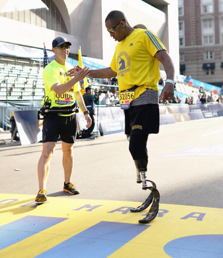 Cedric King at the 2016 Boston Marathon. (Courtesy Joseph Kelley)