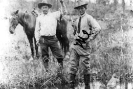 This around 1910 photo provided by Francine Locke Bray shows Jesse Nelson Locke (Babe), right, with an unknown cowboy, with Choctaw horses in Pushmataha County, Okla. An aging stallion found by accident on a Mississippi farm is bringing the first new blood in a century for a line of horses brought to America by Spanish conquistadors and bred by Choctaw Indians who were later forced out of their ancestral homelands. (Francine Locke Bray via AP)