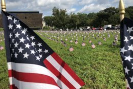 In all, 5,520 postcard-size flags were planted on a patch of grass between the Washington Monument and 15th Street to represent veteran suicides occurring in 2018 through Wednesday. (WTOP/Kristi King)