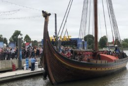 The Norwegian Viking ship, Draken Harald Hårfagre (Draken) will be docked at The Wharf's Transit Pier through Oct. 15. (WTOP/Kristi King)