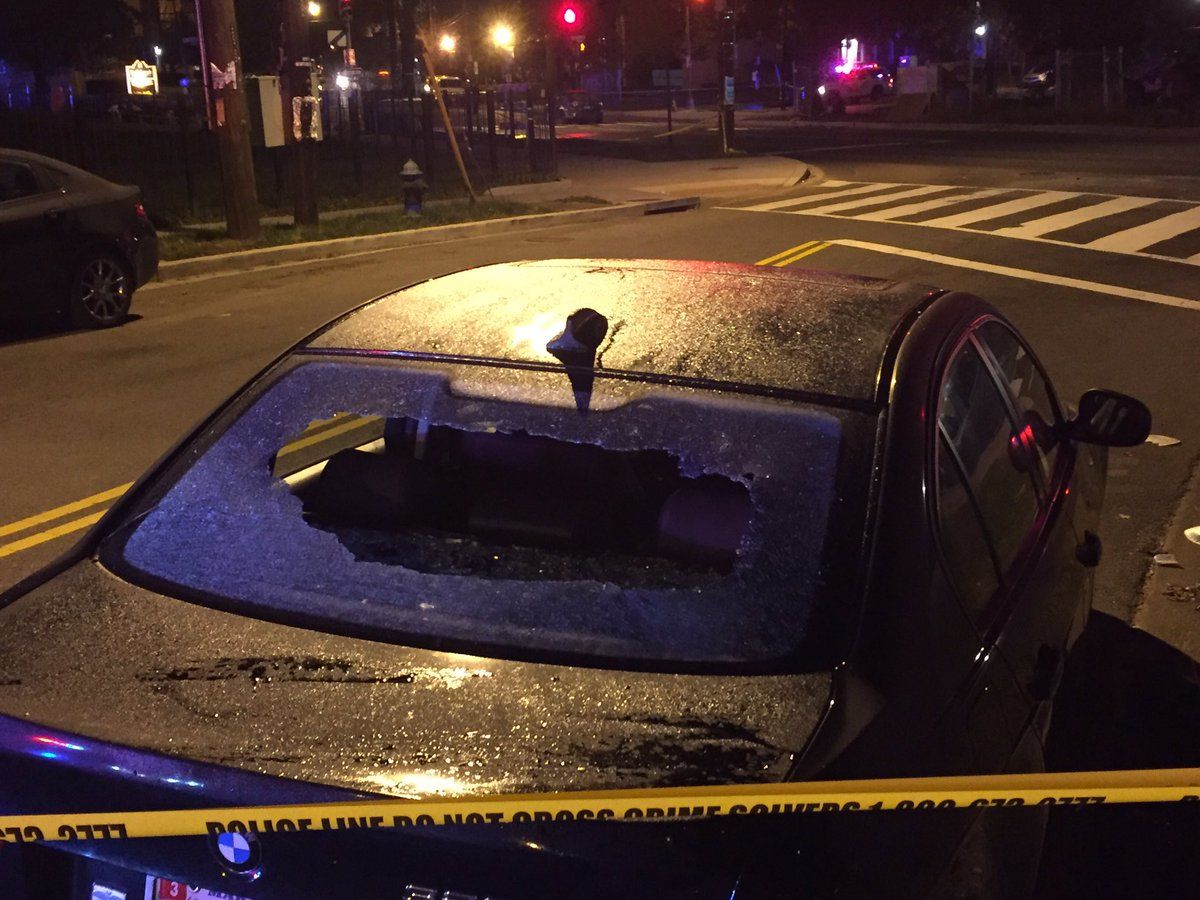 The striking vehicle was traveling along South Capitol Street around 3:15 a.m. when the driver began hitting at least three other cars along the road. (WTOP/John Domen)