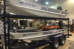 Maryland's search and rescue technicians took with them a number of boat and light support vehicles designed for rescues in both still and flowing floodwater. (WTOP/Melissa Howell)