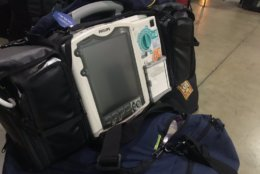 Portable medical equipment carried by a member of VA-TF1. Since local hospitals might be overwhelmed or disabled, search and rescue teams are equipped to handle medical emergencies including heart issues and injuries. (WTOP/Neal Augenstein)