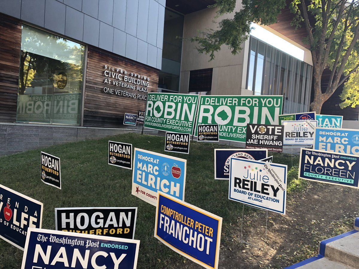 Silver Spring Civic building is one of several early voting centers opening in Montgomery County Thursday morning. (WTOP/Nick Iannelli)