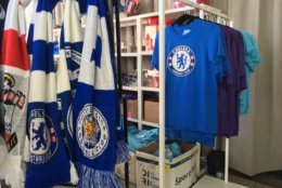 Gear from all the various Premier League clubs was on display and for sale at the Premier League Fanfest. (WTOP/Noah Frank)