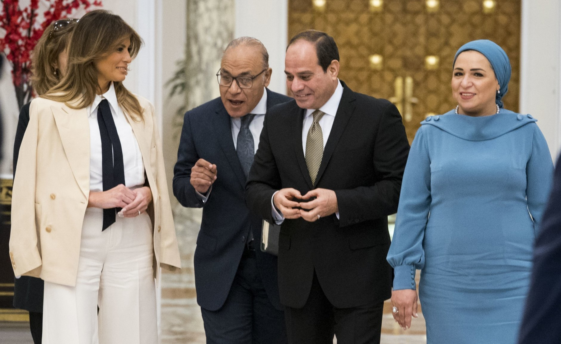First Lady Melania Trump meets with Egyptian President Abdel Fattah al-SisiAbdel and Egyptian First Lady Entissar Mohameed Amer at the Presidential Palace in Cairo, Egypt, Saturday Oct 6, 2018. The First Lady wraps up her 7 day trip to Africa and returns to Washington tomorrow.   (Doug Mills/The New York Times via AP, Pool)