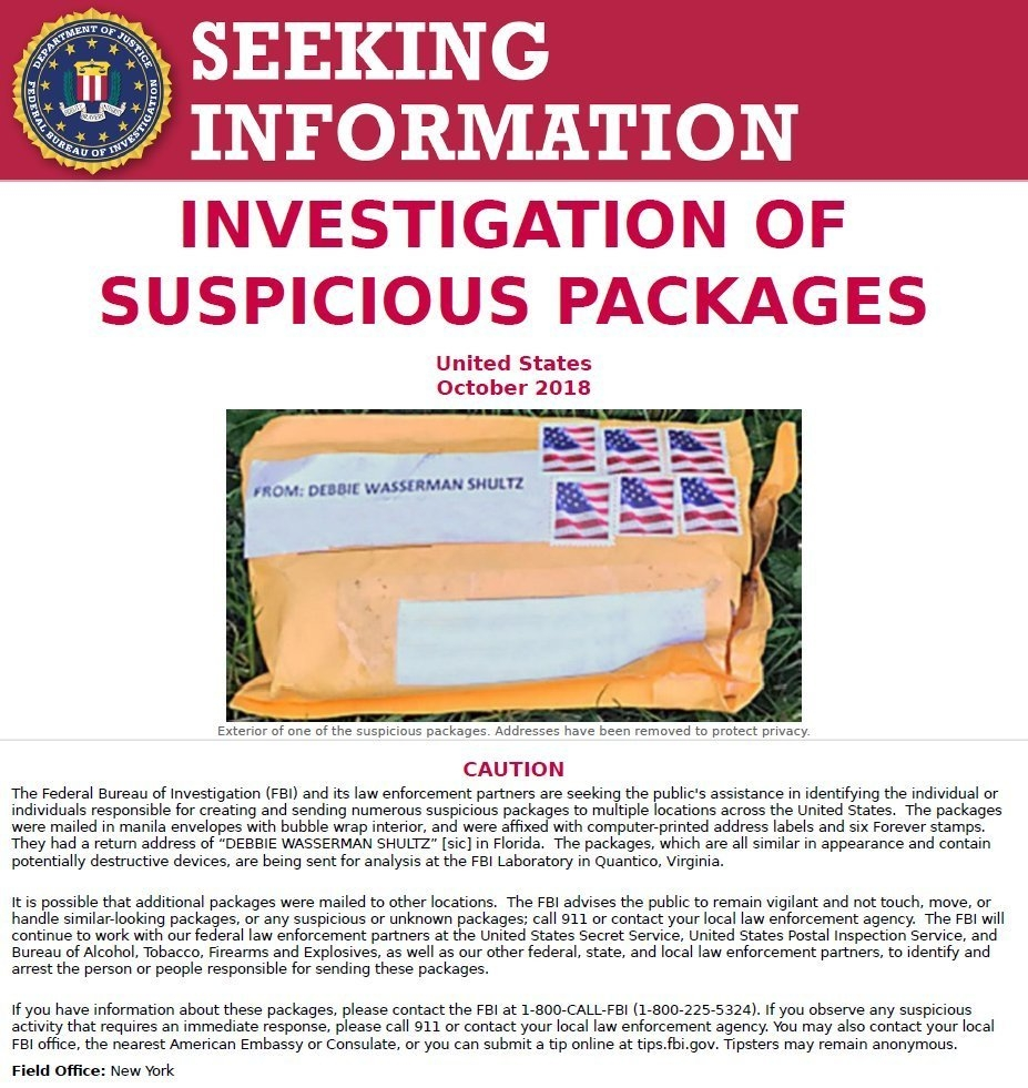The FBI released this poster on Thursday, Oct. 25, 2018, asking for the public's assistance in finding the people responsible for sending suspicious packages to multiple locations across the United States. The targets of the packages were some of the figures most frequently criticized by President Donald Trump. (FBI via AP)