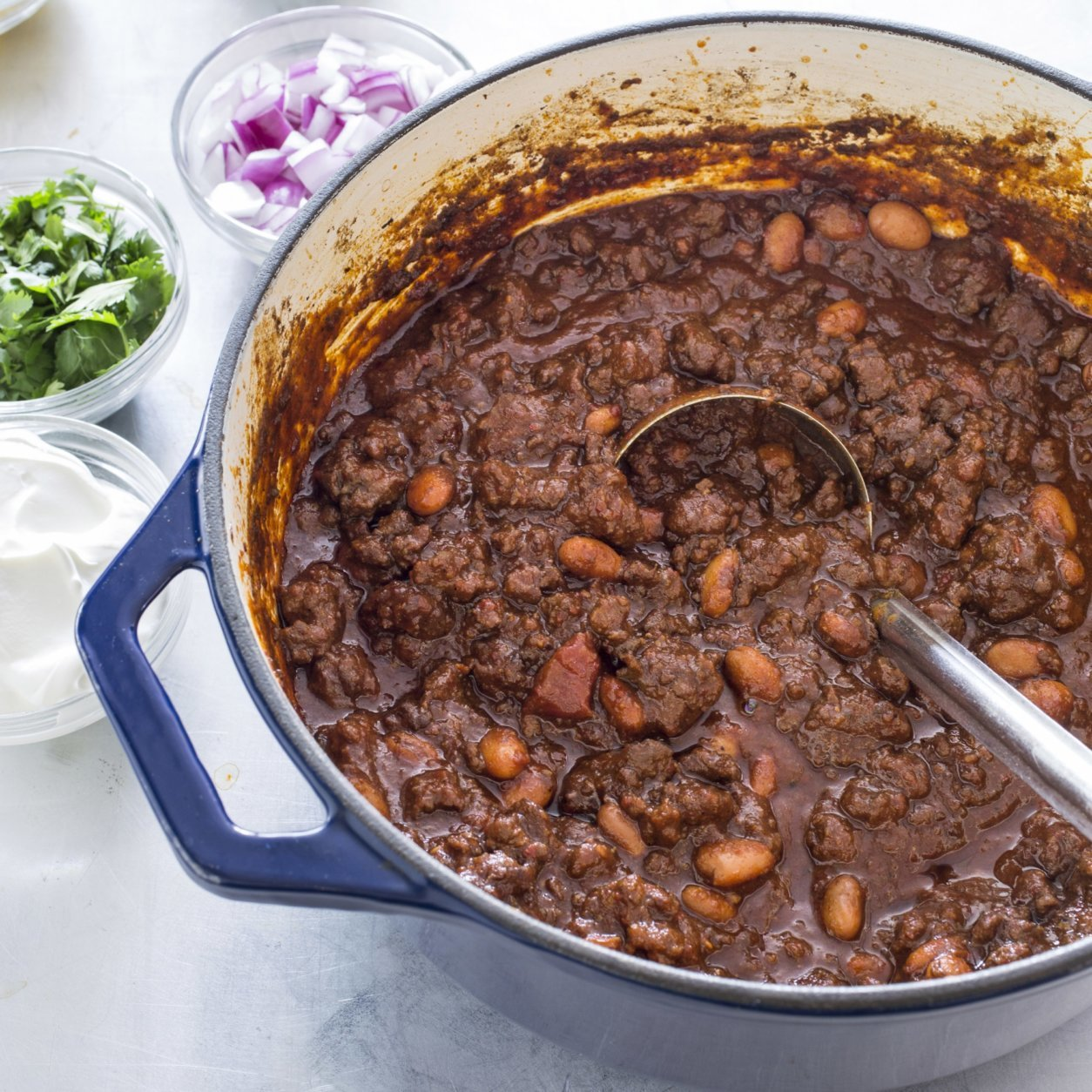 "This undated photo provided by America's Test Kitchen in October 2018 shows ground beef chili in Brookline, Mass. This recipe appears in the cookbook ""New Essentials."" (Carl Tremblay/America's Test Kitchen via AP)"