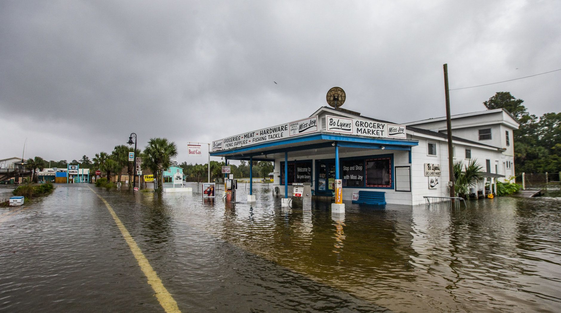 SAINT MARKS, FL - OCTOBER 10: Bo Lynn's Market starts taking water in the town of Saint Marks as Hurricane Michael pushes the storm surge up the Wakulla and Saint Marks Rivers which come together here on October 10, 2018 in Saint Marks, Florida.  The hurricane is forecast to hit the Florida Panhandle at a possible category 4 storm.  (Photo by Mark Wallheiser/Getty Images)