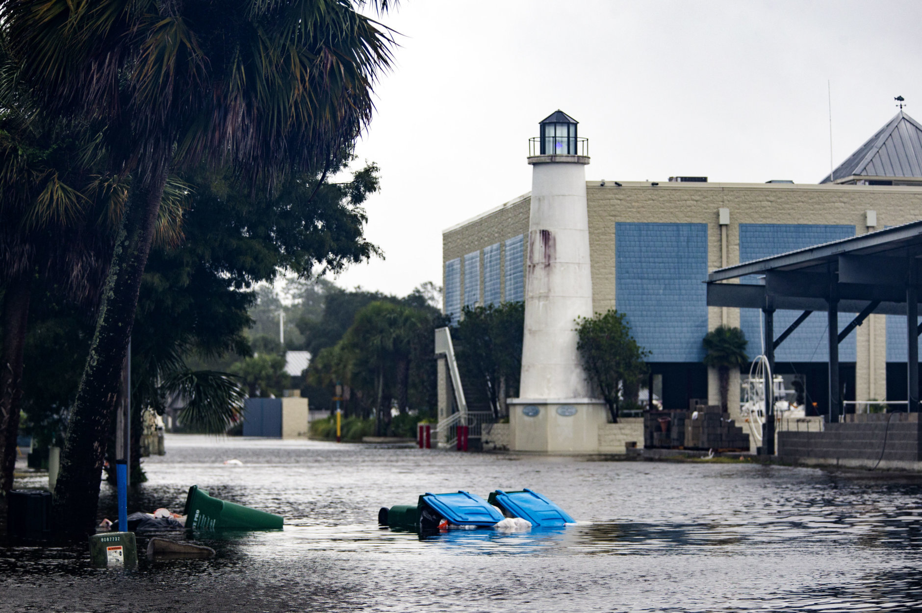 SAINT MARKS, FL - OCTOBER 10: Shields Marina starts taking water in the town of Saint Marks as Hurricane Michael pushes the storm surge up the Wakulla and Saint Marks Rivers which come together here on October 10, 2018 in Saint Marks, Florida.  The hurricane is forecast to hit the Florida Panhandle at a possible category 4 storm.  (Photo by Mark Wallheiser/Getty Images)