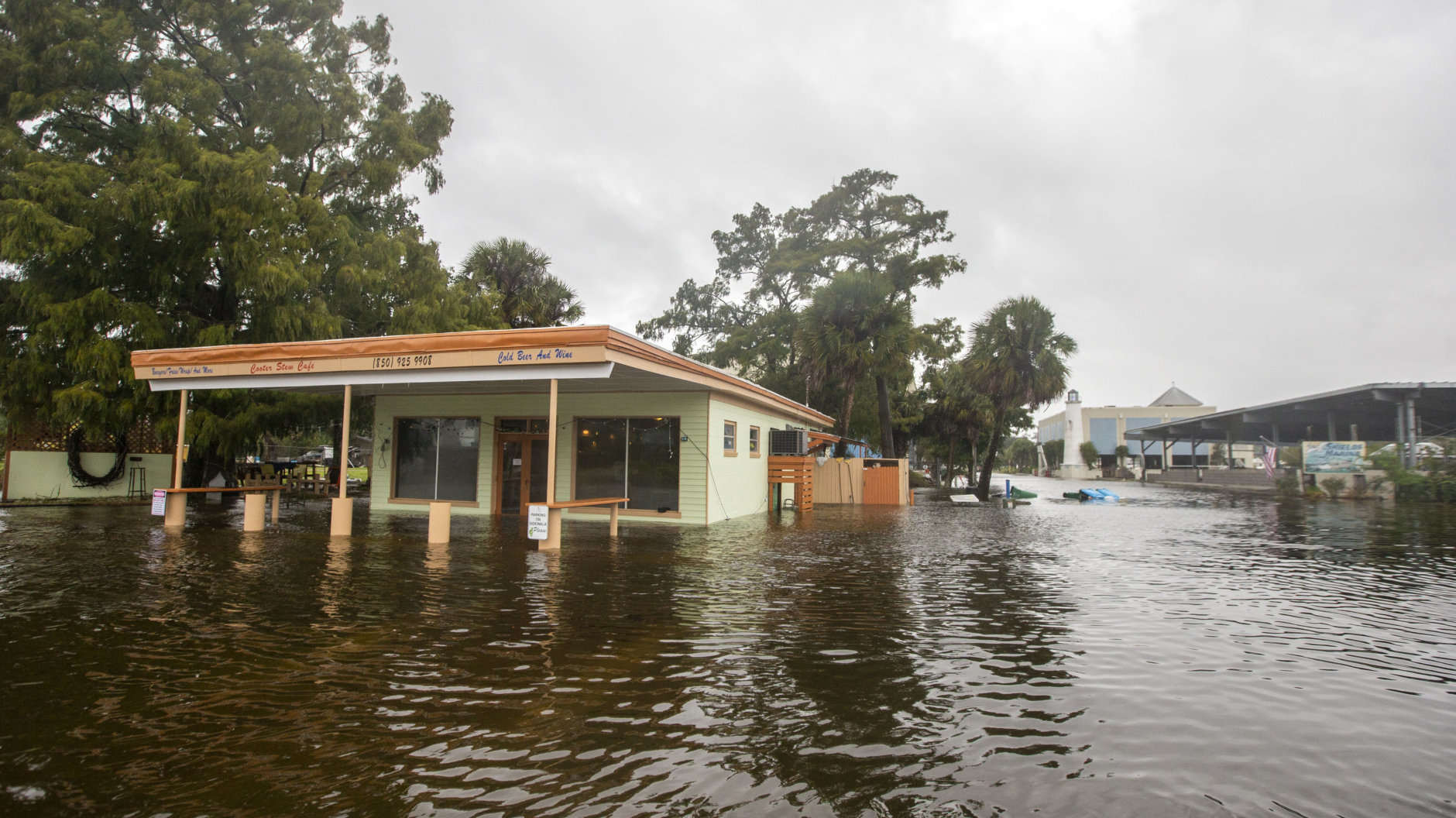 SAINT MARKS, FL - OCTOBER 10: The Cooter Stew Cafe starts taking water in the town of Saint Marks as Hurricane Michael pushes the storm surge up the Wakulla and Saint Marks Rivers which come together here on October 10, 2018 in Saint Marks, Florida.  The hurricane is forecast to hit the Florida Panhandle at a possible category 4 storm.  (Photo by Mark Wallheiser/Getty Images)