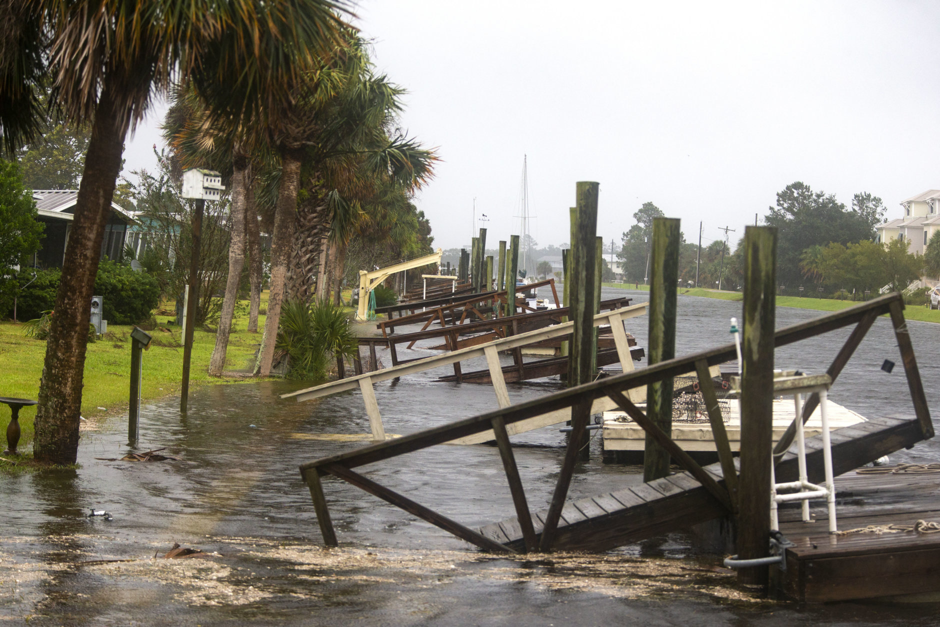 SHELL POINT BEACH, FL - OCTOBER 10: The storm surge from Hurricane Michael pushes into the homes four hours prior to high tide on October 10, 2018 in the Florida Panhandle community of Shell Point Beach, Florida. The hurricane is forecast to hit the Florida Panhandle at a possible category 4 storm.  (Photo by Mark Wallheiser/Getty Images) (Photo by Mark Wallheiser/Getty Images)