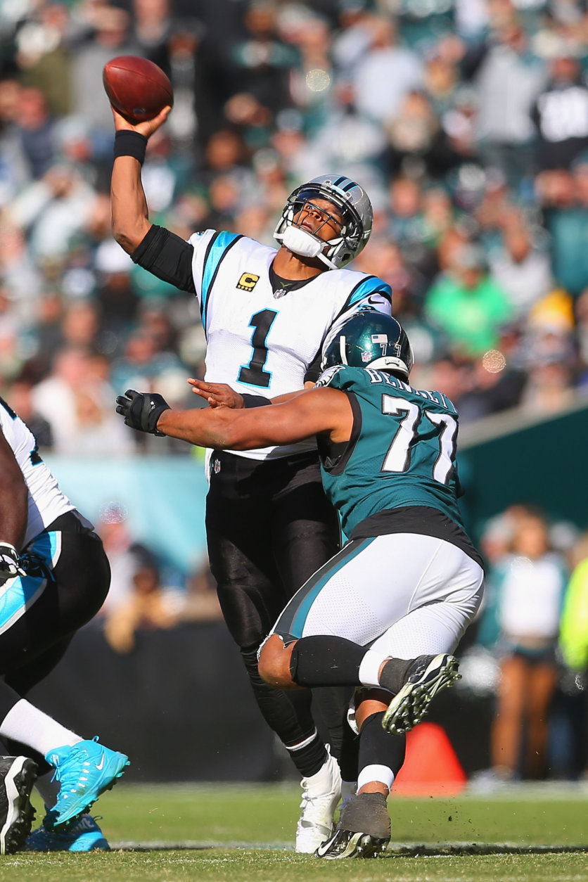 PHILADELPHIA, PA - OCTOBER 21:  Defensive end Michael Bennett #77 of the Philadelphia Eagles pressures quarterback Cam Newton #1 of the Carolina Panthers into an intentional grounding during the third quarter at Lincoln Financial Field on October 21, 2018 in Philadelphia, Pennsylvania.  The Carolina Panthers won 21-17.  (Photo by Mitchell Leff/Getty Images)