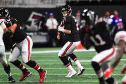 ATLANTA, GA - OCTOBER 22: Matt Ryan #2 of the Atlanta Falcons looks to pass during the first quarter against the New York Giants at Mercedes-Benz Stadium on October 22, 2018 in Atlanta, Georgia. (Photo by Scott Cunningham/Getty Images)