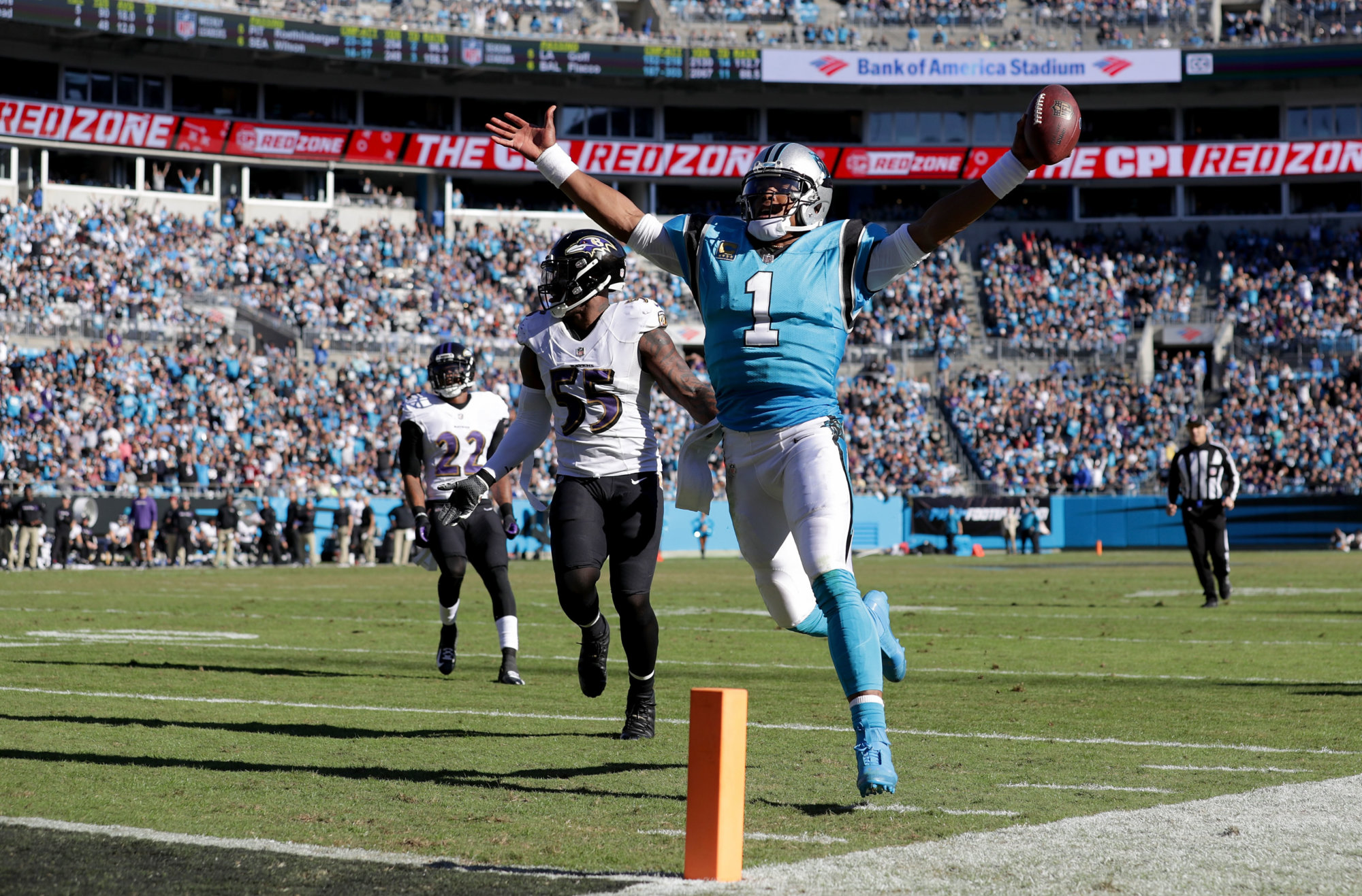 CHARLOTTE, NC - OCTOBER 28:  Cam Newton #1 of the Carolina Panthers scores a touchdown against the Baltimore Ravens in the fourth quarter during their game at Bank of America Stadium on October 28, 2018 in Charlotte, North Carolina.  (Photo by Streeter Lecka/Getty Images)