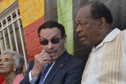 WASHINGTON, DC - AUGUST 22: Vincent Gray and Marion Barry speak during the 55th Anniversary of Ben's Chili Bowl on August 22, 2013 in Washington, DC. (Photo by Kris Connor/Getty Images)