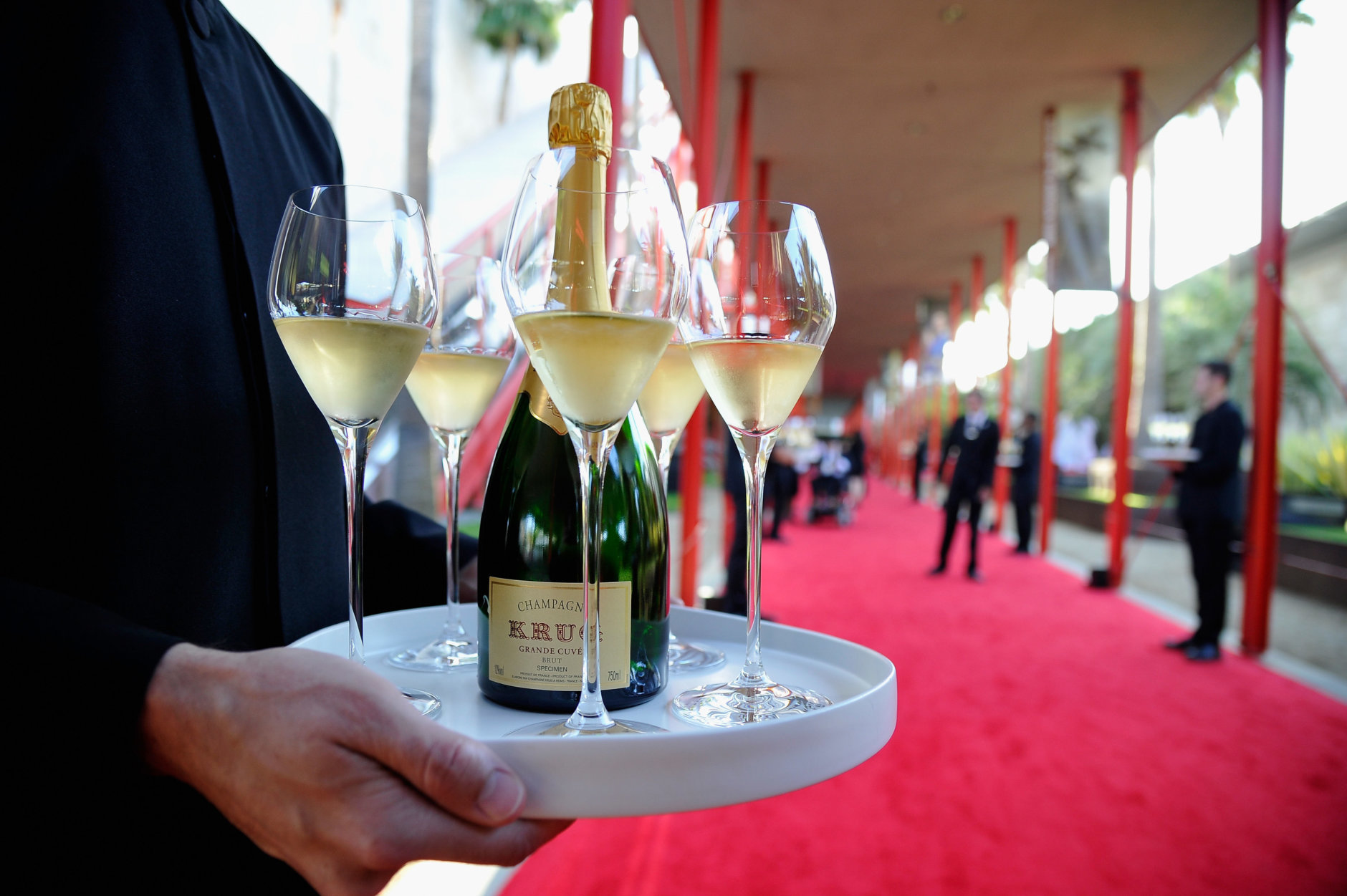 LOS ANGELES, CA - APRIL 18: Krug champagne is served during the LACMA 50th Anniversary Gala sponsored by Christie's at LACMA on April 18, 2015 in Los Angeles, California.  (Photo by John Sciulli/Getty Images for LACMA)