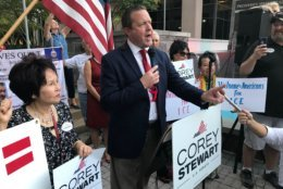Republican Corey Stewart, who is running for U.S. Senate in Virginia, organized a pro-ICE rally in Fairfax, Virginia, on Tuesday, Oct. 9, 2018. The rally also attracted protesters. (WTOP/Michelle Basch)