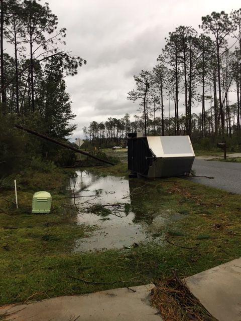 A work trailer was overturned on the street outside of John Paul Jones Jr.'s home in Florida. (Courtesy John Paul Jones Jr.)