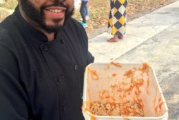 Chef at EW Stokes Public Charter School with seeds recovered during Pumpkins for the People 2017. (Courtesy Agricity)