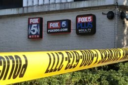 A security guard shot a man inside  FOX 5's offices just after 3 p.m. Monday. (WTOP/Dave Dildine)
