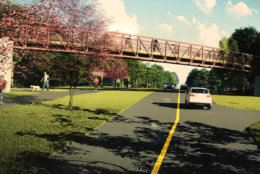Here's a simulated view of the pedestrian bridge option. (WTOP/Dick Uliano)
