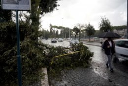 """A fallen branch is cordoned off a day after strong winds and rain hit the city, in Rome, Tuesday, Oct. 30, 2018. The national Civil Protection Agency has issued red and orange alerts -- meaning possible """"loss of life"""" from landslides, floods, and infrastructural damage -- due to an Atlantic storm system that has brought torrential rains and hail, electrical storms, powerful winds and high seas to Italy from North to South. (AP Photo/Andrew Medichini)"""