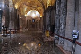 Water covers the mosaic floor of a section of St. Mark's Basilica, in Venice, Italy, Tuesday, Oct.30, 2018. High winds created an exceptional tide in Venice on Monday, covering three-quarters of the city for the first time in a decade. (Andrea Merola/ANSA via AP)