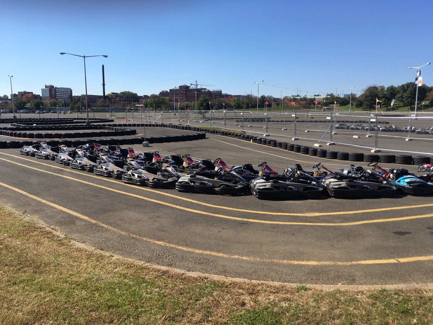 The beginner track at Summit Point Karts, from which drivers must achieve a certain time to advance to the higher speed tracks. (WTOP/Noah Frank)