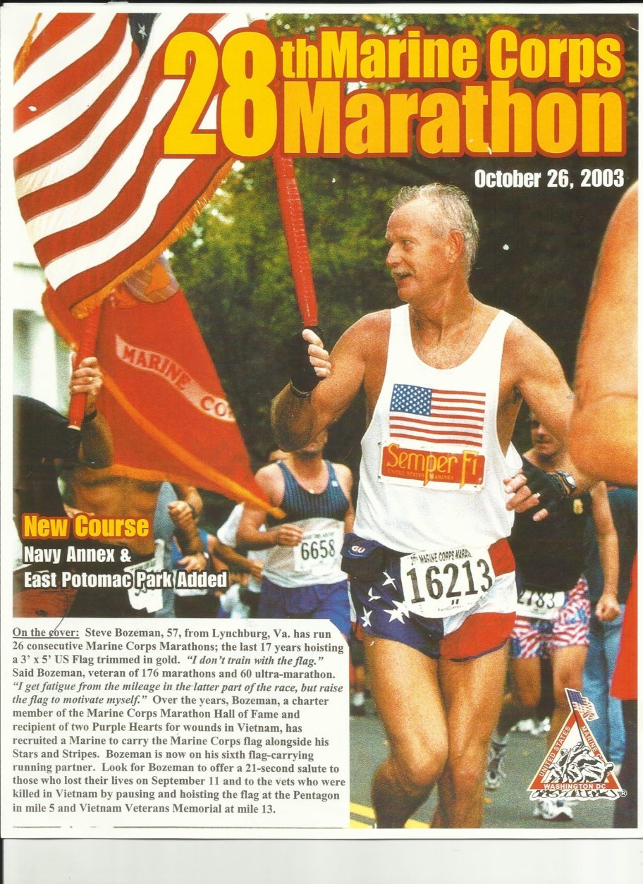 Bozeman said this image of him was used on the front cover of a Marine Corps Marathon race program. (Courtesy Steve Bozeman)