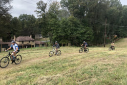 Riders try out the new bike trail in Montgomery County on Friday. (WTOP/Mike Murillo)
