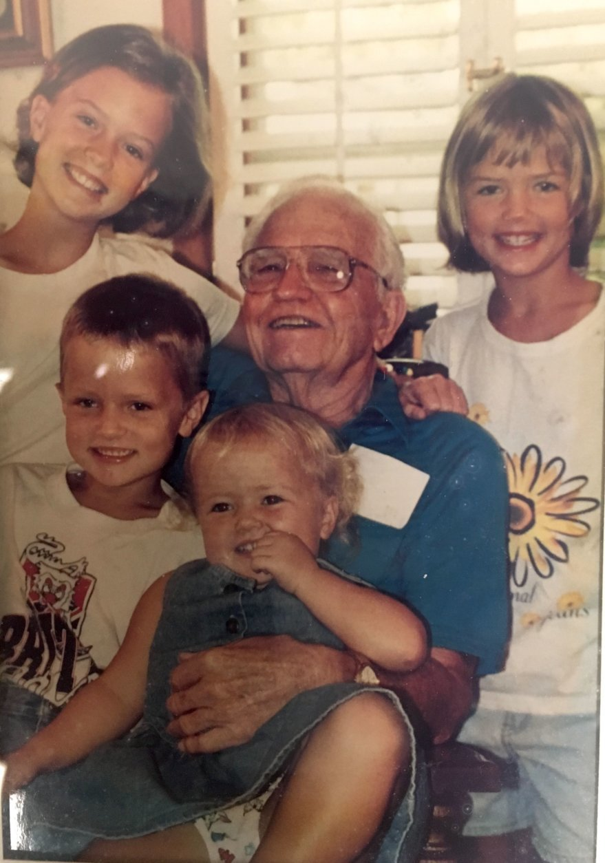 Jimmy Magee is running the Marine Corps Marathon for his father, Cpl. Kenneth Magee, who is pictured above with his grandchildren. (Courtesy Magee Family)