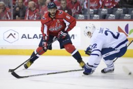 Washington Capitals left wing Alex Ovechkin (8), of Russia, skates with the puck against Toronto Maple Leafs defenseman Nikita Zaitsev (22), of Russia, during the second period of an NHL hockey game, Saturday, Oct. 13, 2018, in Washington. (AP Photo/Nick Wass)