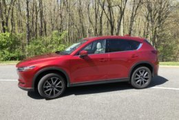 The CX-5 has seen some upgrades this year including stylish 19-inch wheels that go along with the new front end styling from last year. (WTOP/Mike Parris)