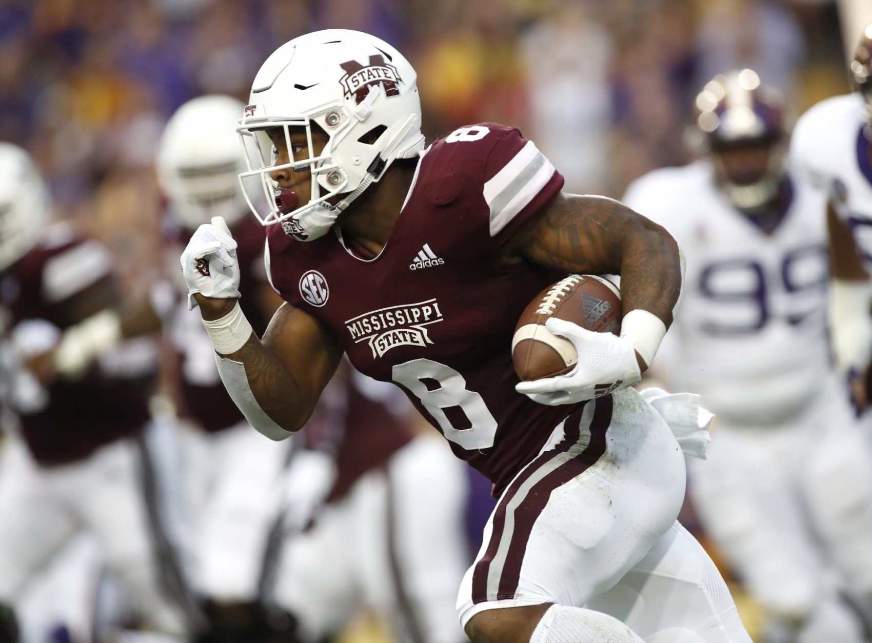 Mississippi State wide receiver Jamal Couch (6) runs the ball during an NCAA college football game against LSU in Baton Rouge, La., Saturday, Oct. 20, 2018. (AP Photo/Tyler Kaufman)