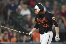 FILE - In this June 29, 2018, file photo, Baltimore Orioles' Mark Trumbo reacts after being called out on strikes against the Los Angeles Angels during the ninth inning of baseball game, in Baltimore. The most depressing aspect of the Baltimore Orioles dismal 2018 season was that they started it expecting to be contenders.  (AP Photo/Gail Burton, File)