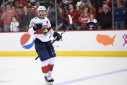 Florida Panthers left wing Jonathan Huberdeau celebrates his deciding goal in a shootout of an NHL hockey game against the Washington Capitals, Friday, Oct. 19, 2018, in Washington. (AP Photo/Nick Wass)