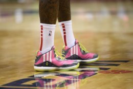 Shoes worn by Washington Wizards guard John Wall are seen during the first half of an NBA basketball game against the Toronto Raptors, Saturday, Oct. 20, 2018, in Washington. (AP Photo/Nick Wass)