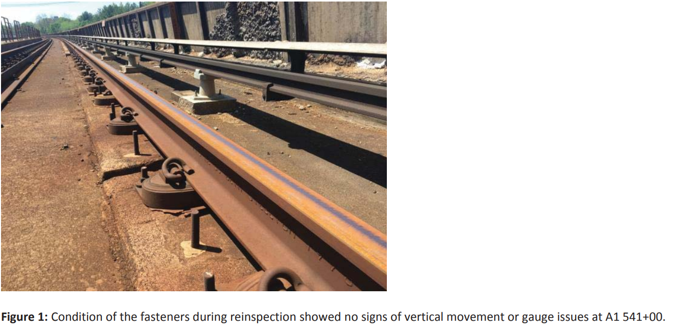 On the Red Line near Grosvenor, fasteners are in unacceptable condition. (Courtesy FTA)