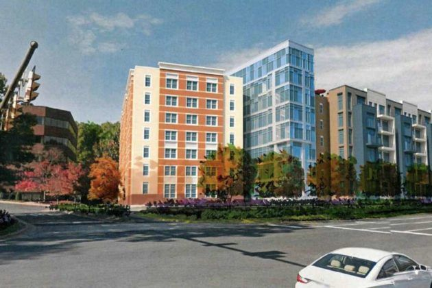 The site of the project, called Reston Corner, is currently an office park. (Courtesy Fairfax County)