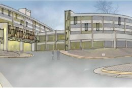 A drawing of the proposed renovations to the Sheraton hotel in Reston Town Center. (Courtesy handout/Reston Association)