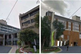 The current Sheraton hotel in Reston (left) and the proposed renovations (right). (Courtesy handout/Reston Association)