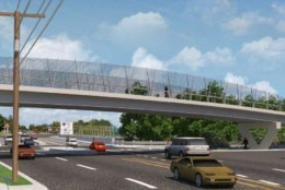 Renderings show the new bike and pedestrian bridge over Lee Highway in East Falls Church. (Courtesy VDOT)