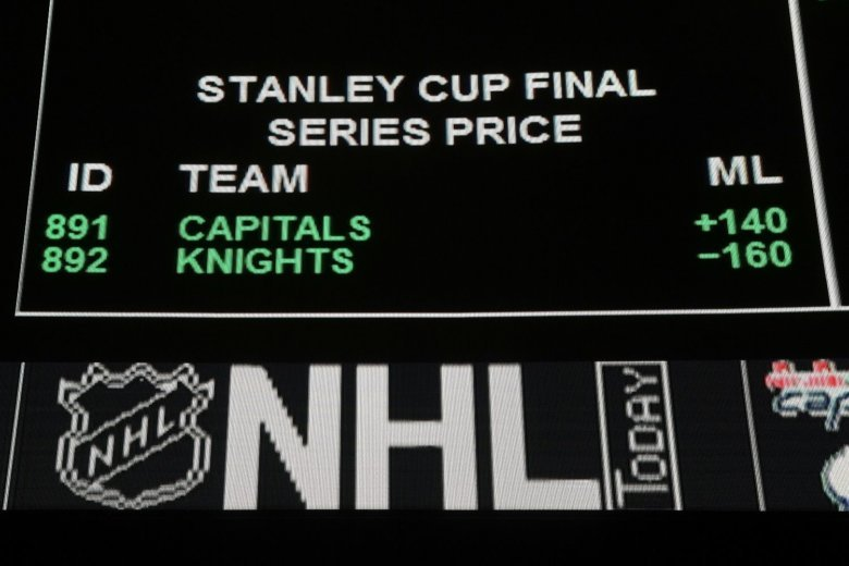 2bed21a4c749a The betting line for the Stanley Cup Final between the Vegas Golden Knights  and the Washington Capitals is displayed at the Race   Sports SuperBook.