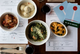 The menu at The Meatball Shop also includes mozzarella balls, risotto balls, buffalo balls and crab cake balls, as well as salads and sides. (Courtesy Liz Clayman)