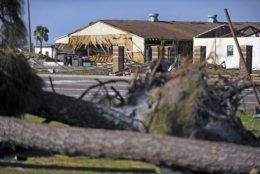 Damage from Hurricane Michael is evident on the buildings at Tyndall Air Force Base, Fla., on Sunday, Oct. 14, 2018. (Carlos Munoz/Sarasota Herald-Tribune via AP)