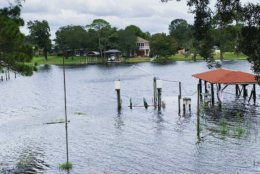 This photo provided by April Sarver shows a flooded neighborhood boat dock in Fort Walton Beach, Fla., Tuesday, Oct. 9, 2018. A fast and furious Hurricane Michael sped toward the Florida Panhandle on Tuesday with 120 mph winds and a potential storm surge of 13 feet, giving tens of thousands of people precious little time to get out or board up. (April Sarver via AP)