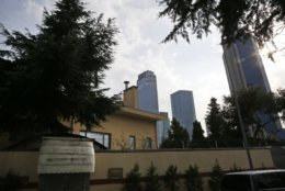 """A view of Saudi Arabia's consulate in Istanbul, Saturday, Oct. 20, 2018. Turkey will """"never allow a cover-up"""" of the killing of Saudi journalist Jamal Khashoggi in Saudi Arabia's consulate in Istanbul, a senior official in Turkey's ruling party said Saturday after Saudi Arabia announced hours earlier that the writer died during a """"fistfight"""" in its consulate. (AP Photo/Lefteris Pitarakis)"""